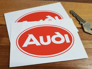 """Audi Red & White Oval Stickers. 3.75"""" Pair."""