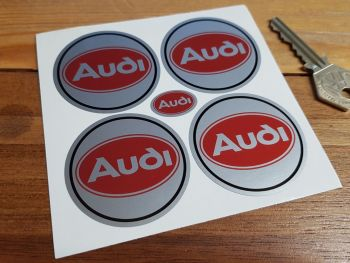 Audi Red Oval Wheel Centre Stickers. Set of 4. 50mm.