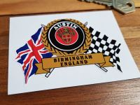 "Austin Birmingham England Flag & Scroll Sticker. 4""."