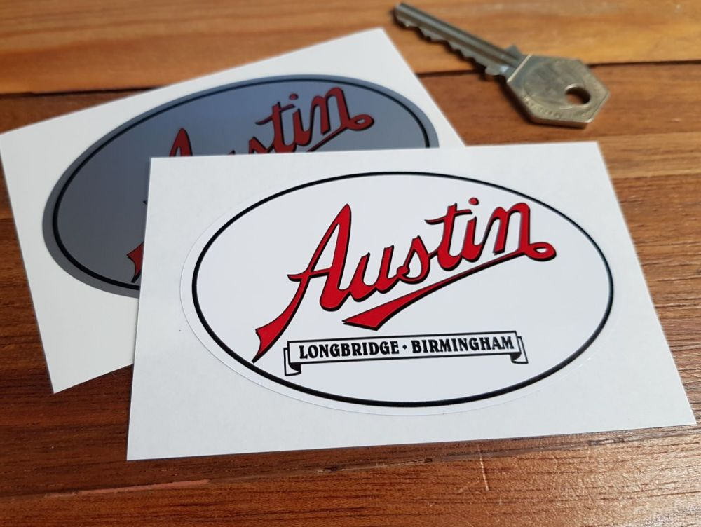 "Austin Longbridge Birmingham Stickers. 3.75"" Pair."