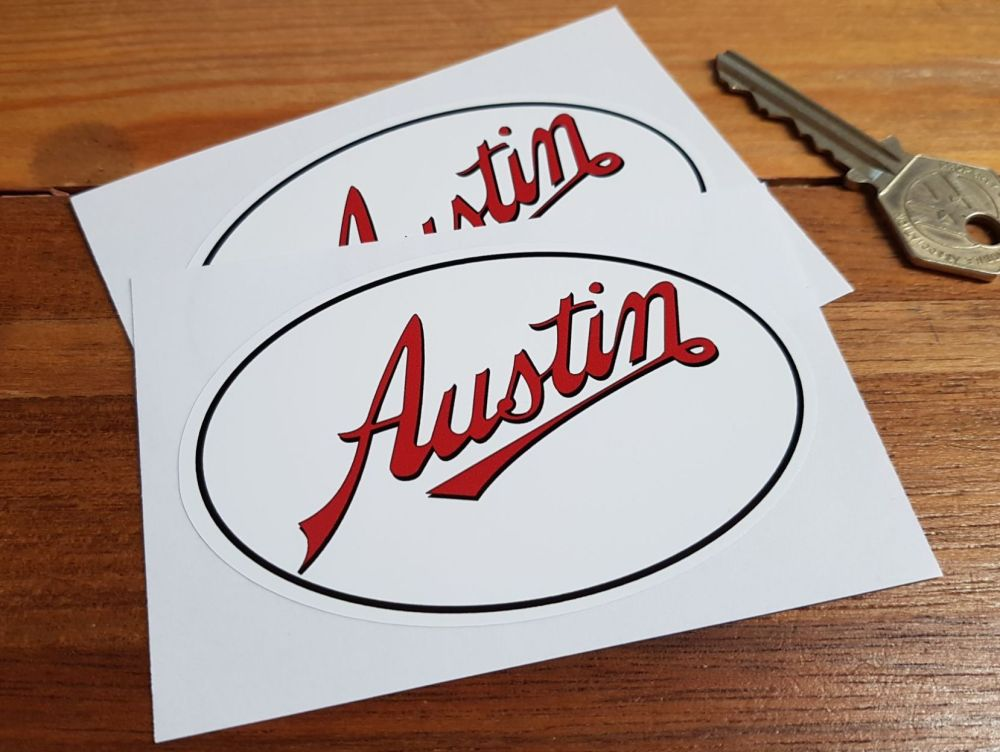 "Austin Text & Oval Stickers. 4"" Pair."