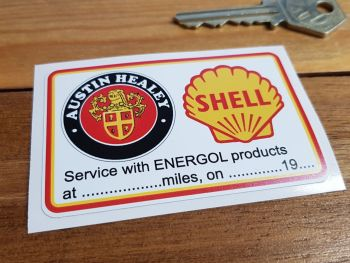 "Austin Healey & Shell Oil Service Sticker. 3""."