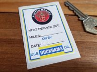 "Austin Healey & Duckhams Oil Service Sticker. 3""."