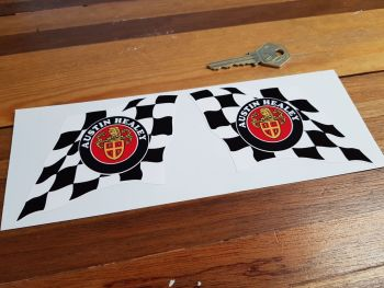 "Austin Healey Crest & Chequered Flag Stickers. 4"" Pair."