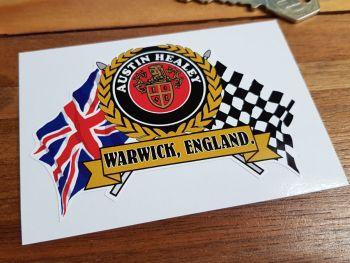 """Austin Healey Warwick, England Flag & Scroll Sticker. 4""""."""