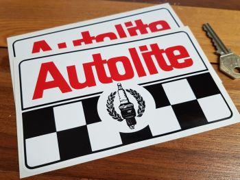 "Autolite Plug & Chequered Stickers. 4"", 6"" or 8"" Pair."