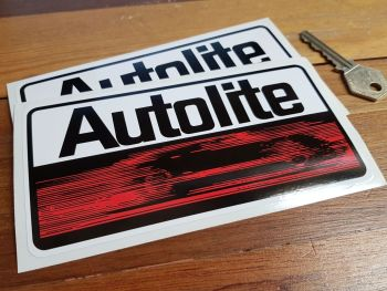 """Autolite Oblong Stickers. 6"""", 7"""", 8"""" or 10"""" Pair."""