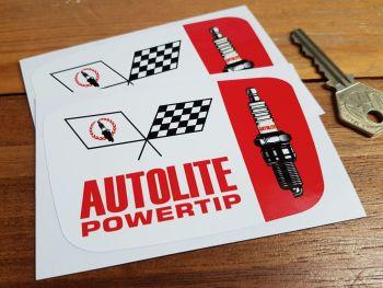 "Autolite Powertip Spark Plug & Crossed Flags Stickers. 4"" or 6"" Pair."