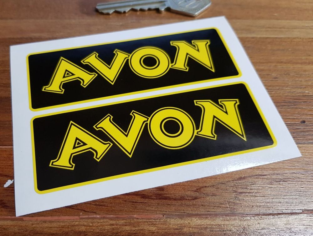 "Avon Black & Yellow Stickers. 4"" or 6.5"" Pair."