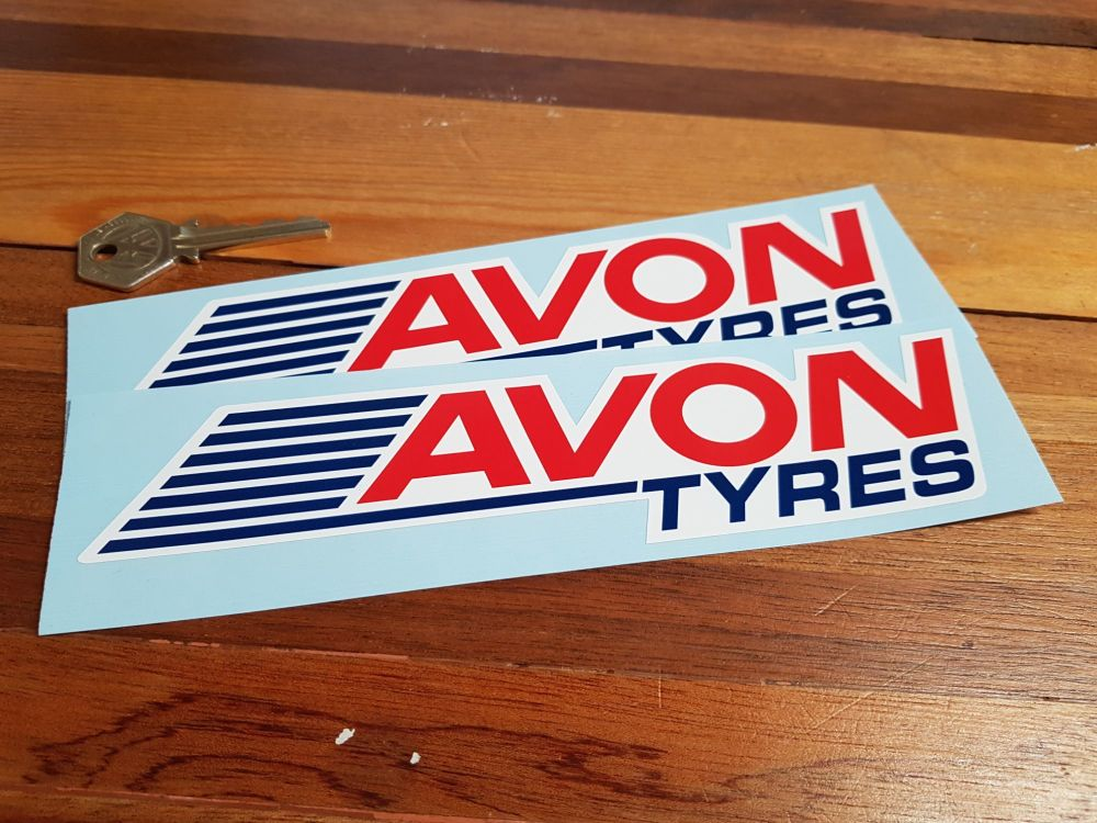 "Avon Tyres Streaked Shaped Stickers. 8"" Pair."