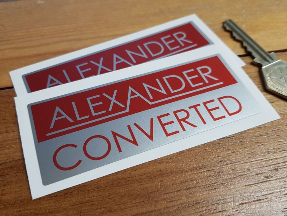 "Alexander Converted Red & Silver Oblong Stickers. 4"" Pair."