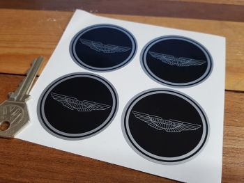 Aston Martin. Wing Logo Black Wheel Centre Stickers. Set of 4. 50mm.