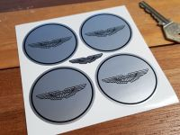 Aston Martin. Wing Logo Silver Wheel Centre Stickers. Set of 4. 50mm or 60mm.