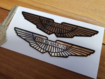 "Aston Martin Winged Chrome Style Stickers. 4"" Pair."