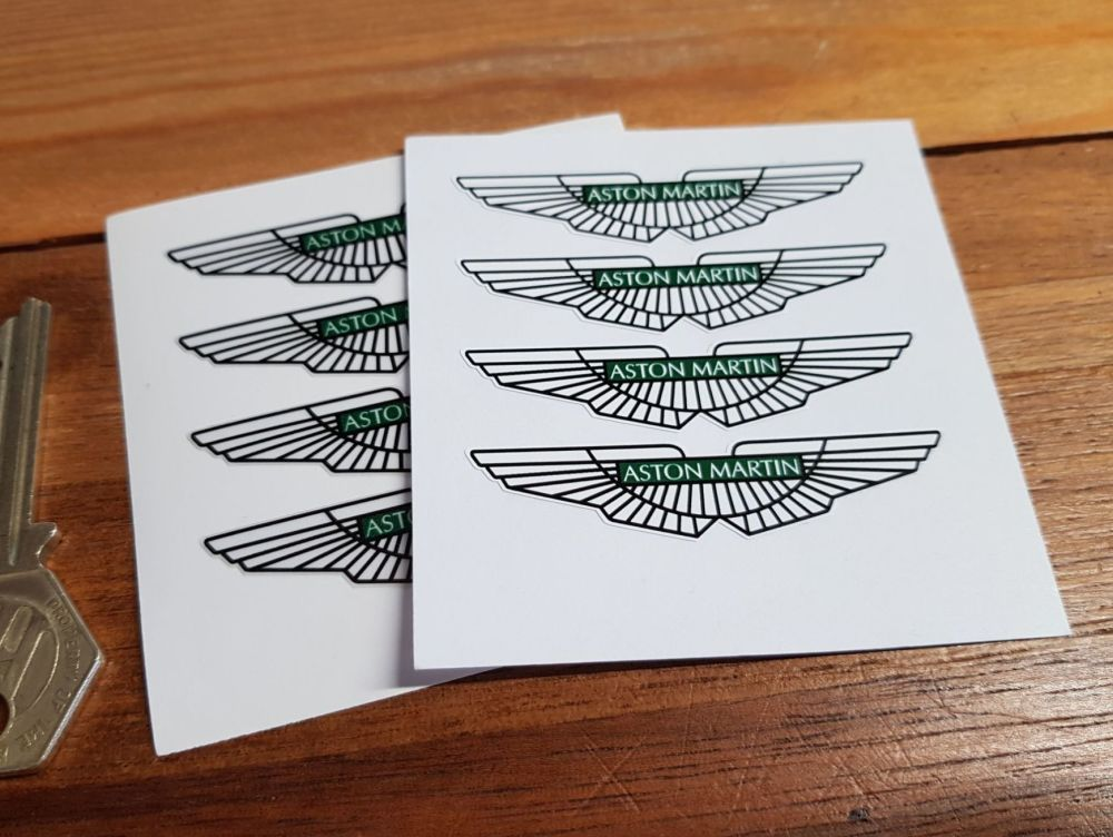 Aston Martin. Winged Logo Stickers. Set of 4. 60mm.