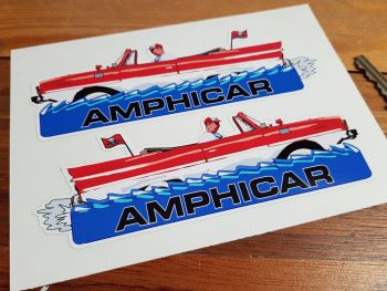 "Amphicar Handed Picture Stickers. 6"" Pair."