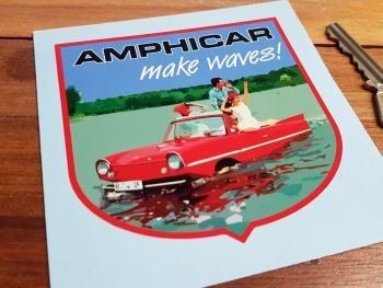 "Amphicar 'Make Waves!' Shield Sticker. 3.5""."