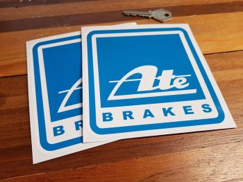 "ATE Brakes Blue Square Stickers. 5"" Pair."