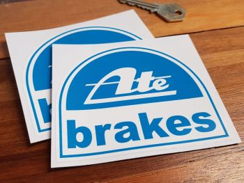 "ATE Brakes Curved Top Stickers. 4"" Pair."