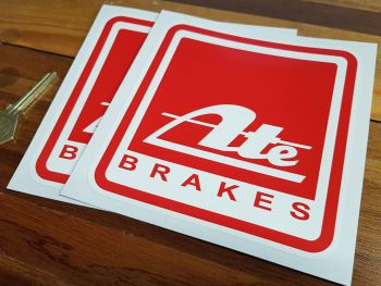 "ATE Brakes Red Square Stickers. 5"" Pair."