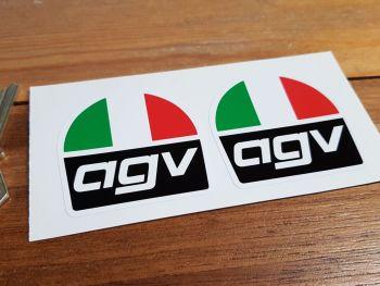 """AGV Helmets Tri-Colour Stickers. 2"""" Pair."""