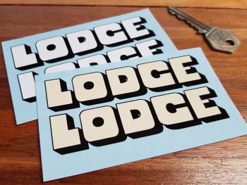 "Golden Lodge Black & White or Off-White Shaped Text Stickers. 2"" or 4"" Pair."
