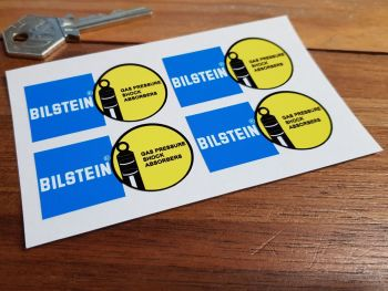 "Bilstein Shock Absorbers Blue & Yellow Shaped Stickers. Set of 4. 2""."