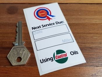 "BMC & Castrol Oils Service Sticker. 4""."