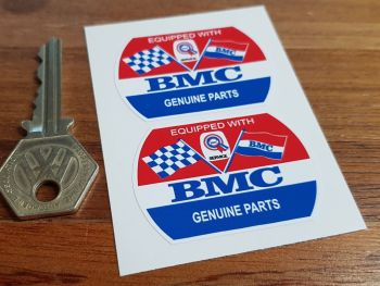 "BMC Genuine Parts Barrel Stickers. 2"" Pair."