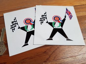 "BMC Man with Flag Stickers. 4"" Pair."