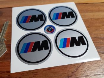 BMW 'M' Wheel Centre Stickers. Set of 4. 50mm.