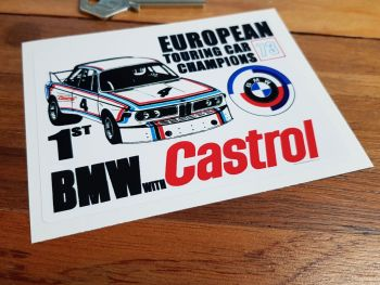 "Castrol & BMW Euro Touring Car Champions 1973 Sticker. 4.75""."