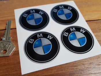 BMW Shaded Roundel Wheel Centre Stickers. Set of 4. 50mm.