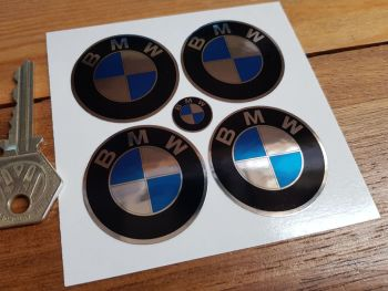 BMW Metallic Foil Roundel Wheel Centre Stickers. Set of 4. 40mm.