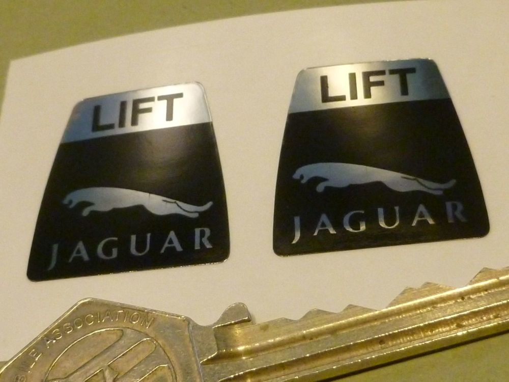"Jaguar Leaper Style Seat Belts Lift Shaped Stickers.  1"" Pair."
