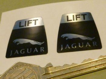 "Jaguar Leaper Style Seat Belts Lift Shaped Stickers.  1"" Pair."