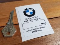 "BMW Next Service Due Sticker. 3""."