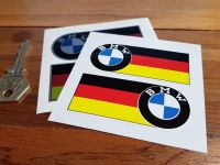 """BMW Serif Style Badge & Straight German Flag Stickers. 3"""" or 5.5"""" Pair."""