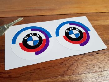 BMW Gunsight Style Roundel Stickers. 50mm, 60mm, 70mm, or 80mm Pair.