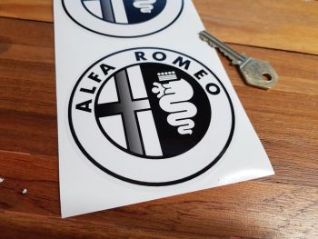 "Alfa Romeo Logo Stickers. Black & Clear. 4"" Pair."