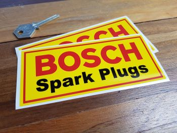 "Bosch Spark Plugs Red Border Stickers. 5.5"" Pair."