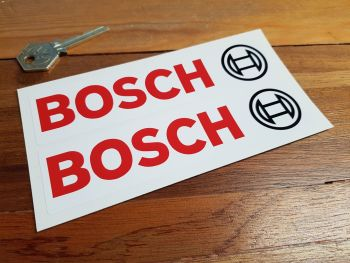 "Bosch Text & Logo Oblong Stickers - White - 4.25"" or 6"" Pair"