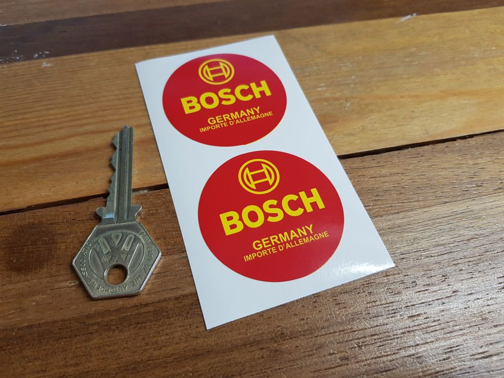 "Bosch Germany. Importe D'Allemagne. Circular Stickers. 2"" Pair."