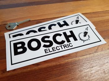 "Bosch Electric & Spark Plug. Black & White or Black & Clear Stickers. 8"" Pair."