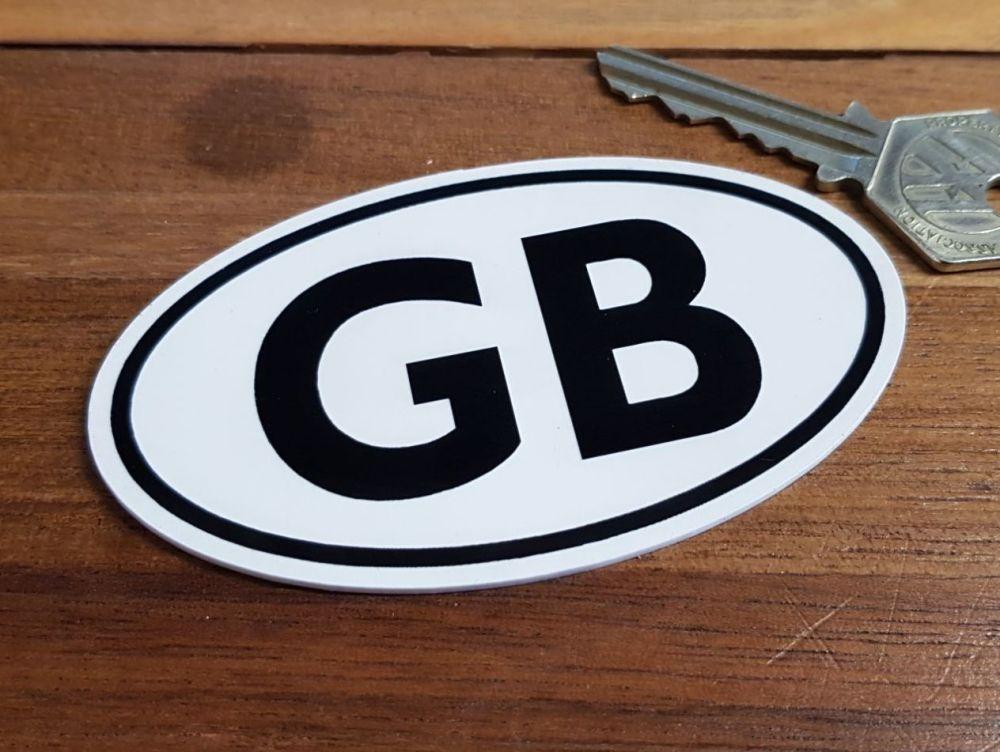 """GB Black & White ID Plate Laser Cut Self Adhesive Bike or Car Badge. 3.75""""."""