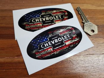 "Chevrolet Stars & Stripes Fade To Black Oval Sticker. 3"", 4"", 6"" or 8""."