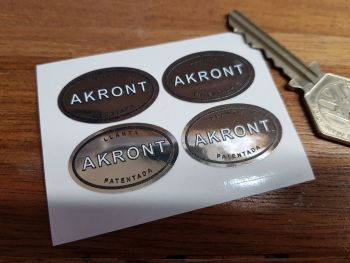 Akront Black & White on Chrome Foil Oval Stickers. Set of 4. 32mm