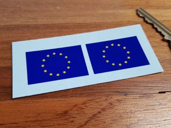 European Union EU Oblong Flag Stickers. 38mm Pair.