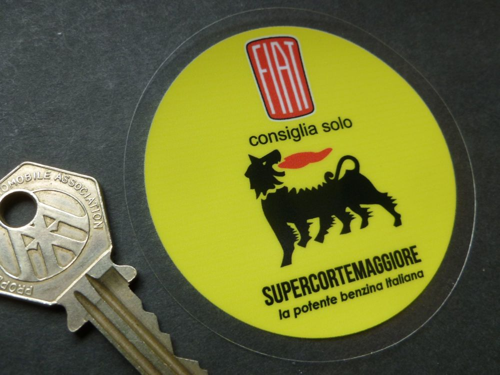 Fiat Consiglia Solo Recommend Only Supercortemaggiore Oil & Petrol Vintage Style Window or Body Sticker. 66mm.