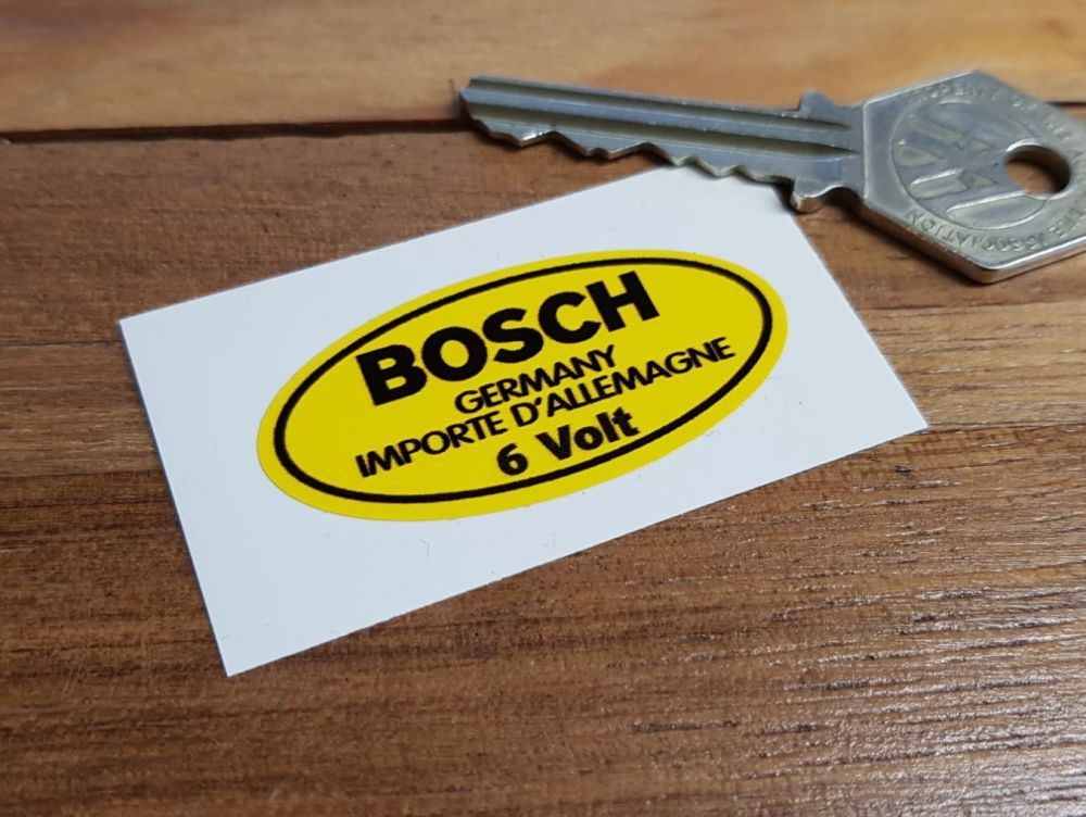 "Bosch Germany 6 Volt Oval Yellow Sticker. 2""."